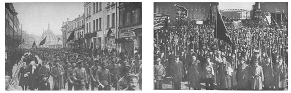 Κόκκινοι φρουροί βαδίζουν κραδαίνοντας πλακάτ και σημαίες με το σύνθημα «όλη η εξουσία στα σοβιέτ». Χρειάζεται προσεκτική παρατήρηση για να διαπιστώσει ο ερευνητής την απόκλιση ανάμεσα στην δημόσια ρητορική του μπολσεβικισμού και την πολιτική πρακτική του.